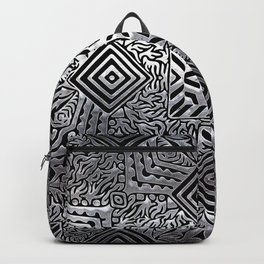 Silver Steel Carving Backpack