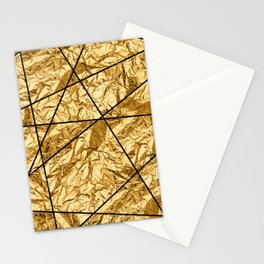 Shiny yellow gold with marble Stationery Cards