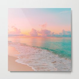 Beautiful: Aqua, Turquoise, Pink, Sunset Relaxing, Peaceful, Coastal Seashore Metal Print
