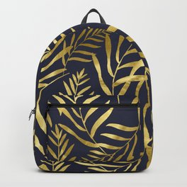 Gold Leaves on Navy Backpack