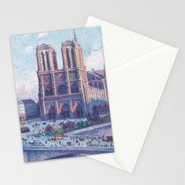 Notre Dame Cathedral, Paris, France Masterpiece by Maximilian Luce Stationery Cards