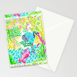 Asian Bamboo Garden in Sunset Watercolor Stationery Cards