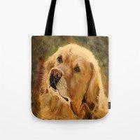 golden retriever Tote Bags featuring Golden Retriever by Tidwell