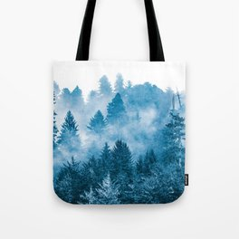 Blue Foggy Forest Adventure #46 Tote Bag