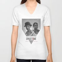 doctor V-neck T-shirts featuring Inspector Spacetime  by Sam Spratt