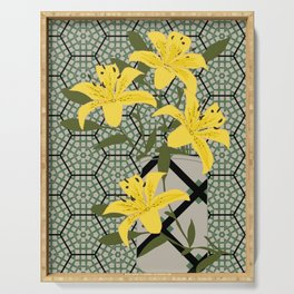 yellow lilies Serving Tray