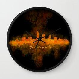 Cleveland City Skyline Hq V4 Wall Clock