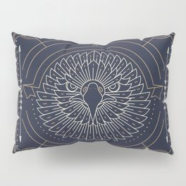 Eagle Head Front Gold White on Black Background Pillow Sham