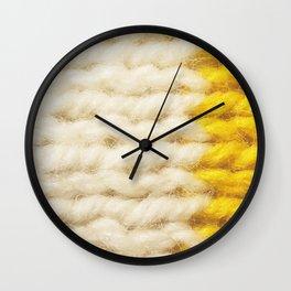 White Yellow Wool Knitting Texture Wall Clock