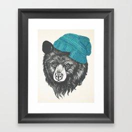 Zissou the bear in blue Framed Art Print