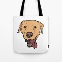 levi Tote Bags featuring Levi the Yellow Lab by Rachel Barrett