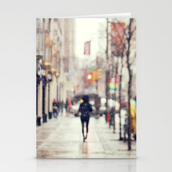 Snowing in the City Stationery Cards