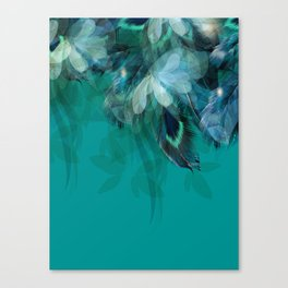 DREAMY FEATHERS & LEAVES - Deep Cyan Canvas Print