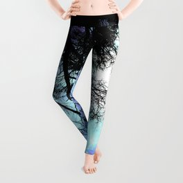 black trees periwinkle blue aqua space Leggings