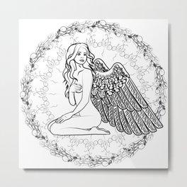 Naked girl angel with wings Metal Print