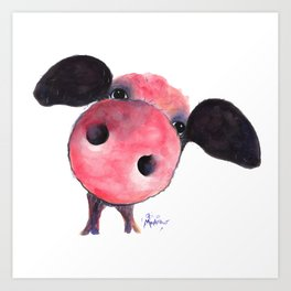 Nosey Pig ' CLARENCE ' by Shirley MacArthur Art Print