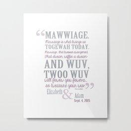 custom wedding mawwiage quote guest sign in poster for elizabeth and adam Metal Print