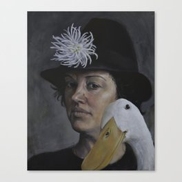 She Winked At the Portraitist Before Gobbling Up the Dahlia Canvas Print