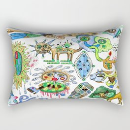 watercolor doodle Rectangular Pillow