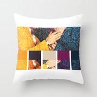 klaine Throw Pillows featuring All You Need is Colors by Jen K