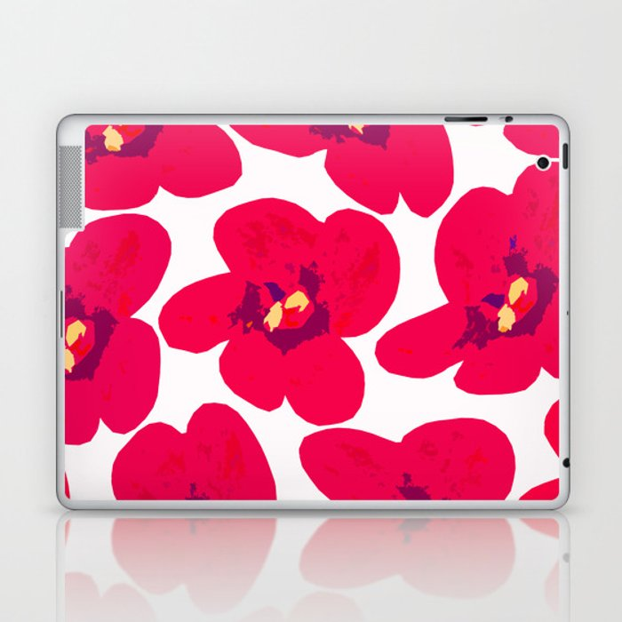 Red Retro Flowers #decor #society6 #buyart Laptop & iPad Skin