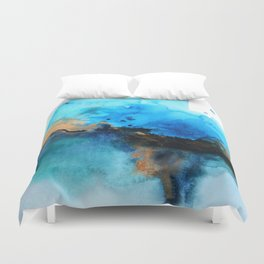 Blue gold flow abstract Duvet Cover