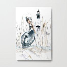 Tybee Island Pelican Metal Print