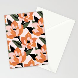 Bold orange poppy on a soft pink base Stationery Cards