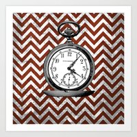arsenal Art Prints featuring Gentleman's Arsenal - The Watch by Ashley Anonymous