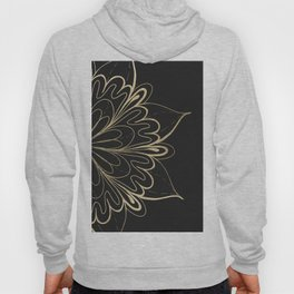 Elegant hand painted black gold mandala floral Hoody