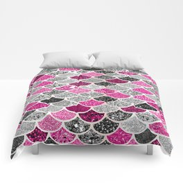 Pink, Silver and Cranberry Mermaid Scales Pattern Comforters