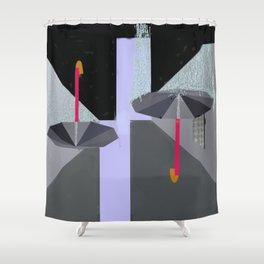 Umbrellas in the Rain Shower Curtain