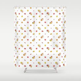 Bell Peppers and Guinea Pigs Pattern in White Background Shower Curtain