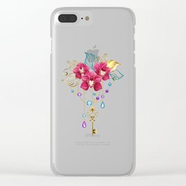 Pink Orchid with Key Clear iPhone Case