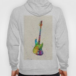 Electric Bass Guitar Abstract Watercolor Hoody