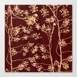 Gold branches on red Canvas Print