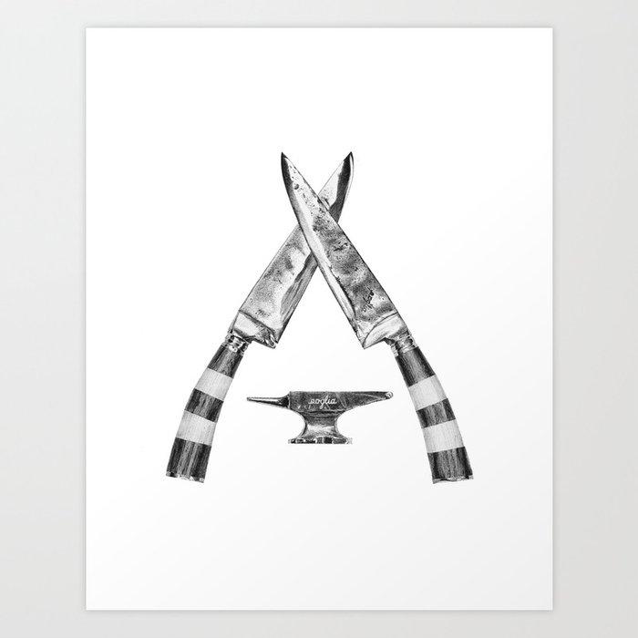 Poglia Knives Art Print