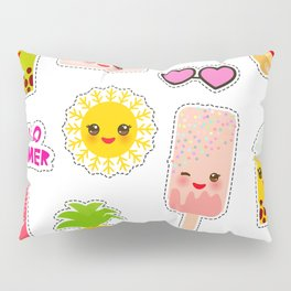 Hello Summer. Pineapple, cherry smoothie cup, ice cream, sun, cat, cake, hamster. Kawaii cute face. Pillow Sham