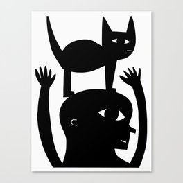 Cat On My Head Canvas Print