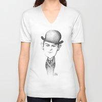 kafka V-neck T-shirts featuring Kafka by Liliana Ostrovsky