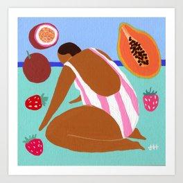 Pink papaya passionfruit Art Print