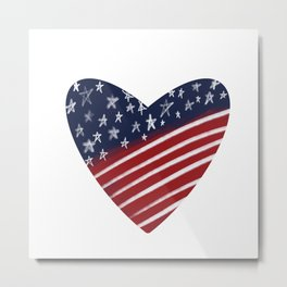 4th of July America Love Heart - Red White Blue Metal Print