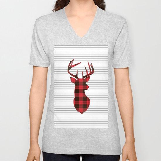 Plaid Deer Head on Minimal Stripes by semisweetbrand