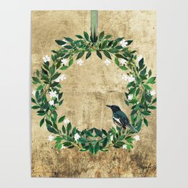 Wreath #White Flowers & Bird #Royal collection Poster