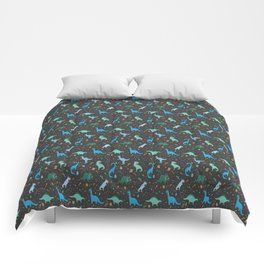 Dinosaurs in Space in Blue Comforters