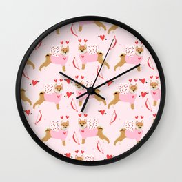 Shiba Inu love bug valentines day cute dog breed costume shibas pure breed puppers Wall Clock