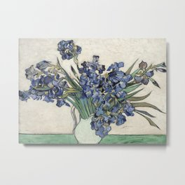 Vase with Irises Metal Print