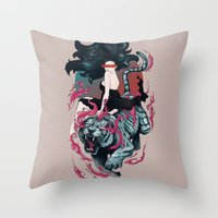 beauty and the beast Throw Pillows featuring Beauty and the Beast by Artemple