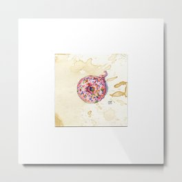 Pink Sprinkle Donut Watercolor on Coffee-Stained Paper Metal Print