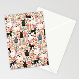 Frenchie floral french bulldog cute pet gifts dog breed must haves florals french bulldogs Stationery Cards